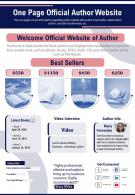 One Page Official Author Website Presentation Report Infographic PPT PDF Document