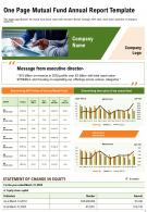 One Page One Page Mutual Fund Annual Report Template Report Infographic PPT PDF Document