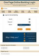 One Page Online Banking Login Presentation Report Infographic PPT PDF Document