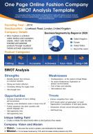 One Page Online Fashion Company Swot Analysis Template Presentation Report Infographic PPT PDF Document