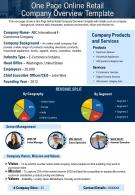 One Page Online Retail Company Overview Template Presentation Report Infographic PPT PDF Document