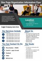 One Page Organization Information Flyer Presentation Report Infographic PPT PDF Document