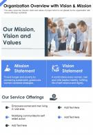One Page Organization Overview With Vision And Mission Presentation Report Infographic PPT PDF Document