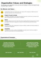 One Page Organization Values And Strategies Presentation Report Infographic PPT PDF Document