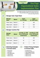 One Page Organizational Sales Implementation Plan Presentation Report Infographic PPT PDF Document