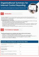 One Page Organizational Summary For Internal Control Reporting Report Infographic PPT PDF Document