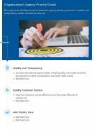 One Page Organizations Agency Priority Goals Presentation Report Infographic PPT PDF Document