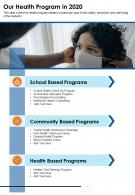 One Page Our Health Program In 2020 Presentation Report Infographic PPT PDF Document