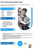 One Page Our School Library Media Center Template 479 Presentation Report Infographic PPT PDF Document