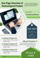 One Page Overview Of Technological Product Presentation Report Infographic PPT PDF Document