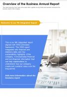 One Page Overview Of The Business Annual Report Presentation Report Infographic PPT PDF Document