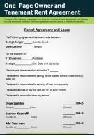One Page Owner And Tenement Rent Agreement Presentation Report Infographic PPT PDF Document