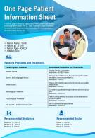 One Page Patient Information Sheet Presentation Report Infographic PPT PDF Document