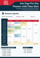 One Page Per Day Planner With Time Slots Presentation Report Infographic Ppt Pdf Document