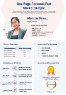 One Page Personal Fact Sheet Example Presentation Report Infographic PPT PDF Document