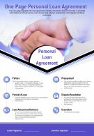 One Page Personal Loan Agreement Presentation Report Infographic PPT PDF Document