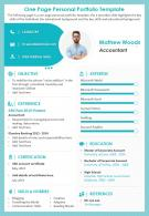 One Page Personal Portfolio Template Presentation Report Infographic PPT PDF Document