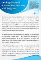 One Page Personal Statement For Pursuing MBA Program Presentation Report Infographic PPT PDF Document
