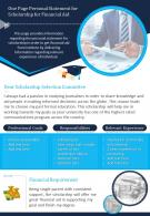 One Page Personal Statement For Scholarship For Financial Aid Presentation Report Infographic PPT PDF Document