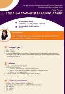 One Page Personal Statement For Scholarship Presentation Report Infographic PPT PDF Document