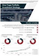 One Page Portfolio Investment Strategy Presentation Report Infographic PPT PDF Document