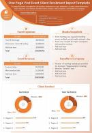 One Page Post Event Client Enrollment Report Template Presentation Report Infographic PPT PDF Document