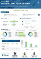 One Page Post Event Sales Report Template Presentation Report Infographic PPT PDF Document
