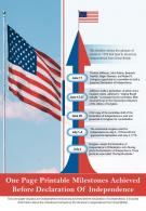 One Page Printable Milestones Achieved Before Declaration Of Independence Report Infographic PPT PDF Document