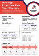 One Page Procedure Fact Sheet Example Presentation Report Infographic PPT PDF Document