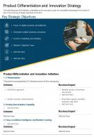 One Page Product Differentiation And Innovation Strategy Presentation Report Infographic PPT PDF Document
