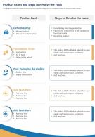 One Page Product Issues And Steps To Resolve The Fault Presentation Report Infographic PPT PDF Document