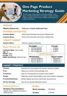 One Page Product Marketing Strategy Guide Presentation Report Infographic PPT PDF Document