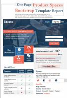 One Page Product Spaces Bootstrap Template Report Presentation Report PPT PDF Document