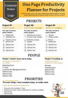 One Page Productivity Planner For Projects Presentation Report Infographic PPT PDF Document