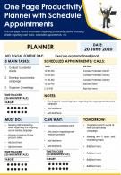 One Page Productivity Planner With Schedule Appointments Presentation Report Infographic PPT PDF Document