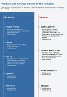 One Page Products And Services Offered By The Company Infographic PPT PDF Document