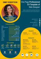 One Page Professional CV Template Of Web Designer Presentation Report Infographic PPT PDF Document