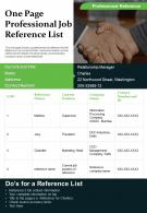 One Page Professional Job Reference List Presentation Report Infographic PPT PDF Document