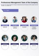 One Page Professional Management Team Of The Company Presentation Report Infographic PPT PDF Document