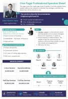 One Page Professional Speaker Sheet Presentation Report Infographic PPT PDF Document