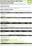 One Page Project Charter With Project Expenses And Funding Presentation Report Infographic PPT PDF Document