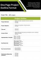One Page Project Outline Format Presentation Report Infographic PPT PDF Document