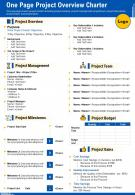 One Page Project Overview Charter Presentation Report Infographic PPT PDF Document