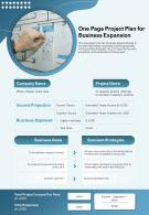One Page Project Plan For Business Expansion Presentation Report Infographic PPT PDF Document