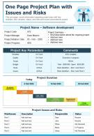 One Page Project Plan With Issues And Risks Presentation Report Infographic PPT PDF Document