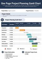 One Page Project Planning Gantt Chart Presentation Report Infographic PPT PDF Document
