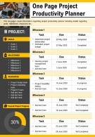 One Page Project Productivity Planner Presentation Report Infographic PPT PDF Document