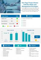 One Page Project Status With Key Risks And Management Strategies Presentation Report Infographic PPT PDF Document