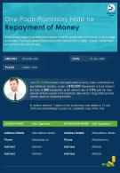 One Page Promissory Note For Repayment Of Money Presentation Report Infographic PPT PDF Document