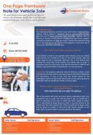 One Page Promissory Note For Vehicle Sale Presentation Report Infographic PPT PDF Document